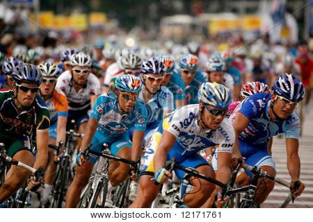 KL, MALAYSIA - 15 February: Cyclists at the front of the peloton at the le Tour de Langkawi race, Stage 7, KL Criterium. in Kuala Lumpur Malaysia 15 February 2009
