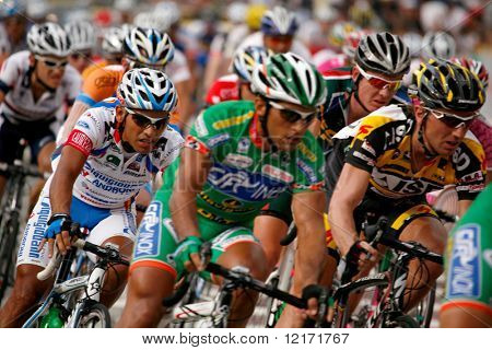 KL, MALAYSIA - 15 February: Cyclists in action at the le Tour de Langkawi race, Stage 7, KL Criterium. in Kuala Lumpur Malaysia 15 February 2009