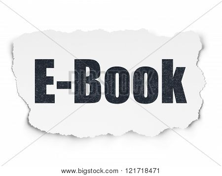 Education concept: E-Book on Torn Paper background