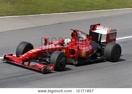 SEPANG, MALAYSIA - APRIL 3: Ferrari's Felipe Massa practices at the 2009 F1 Petronas Malaysian Grand Prix April 3, 2009 in Sepang Malaysia.