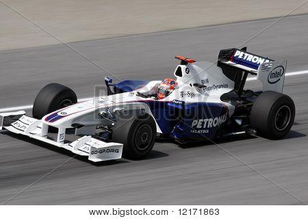 Sepang, MALAYSIA - 3 April: BMW Sauber's Robert Kubica in action at the 2009 F1 Petronas Malaysian Grand Prix.  3 April 2009 in Sepang International Circuit Malaysia.