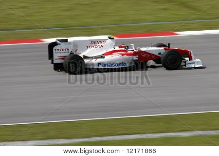 Sepang, MALAYSIA - 3 April: Toyota's Timo Glock in action at the 2009 F1 Petronas Malaysian Grand Prix.  3 April 2009 in Sepang International Circuit Malaysia.