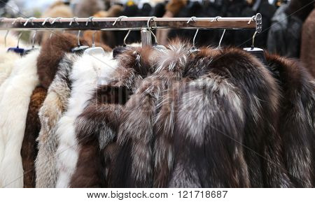 used mink coat and other fur animals for sale in the flea market
