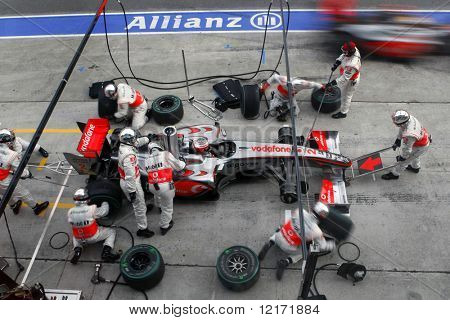 SEPANG, MALAYSIA - APRIL 5: McLaren Mercedes' Lewis Hamilton at a pit-stop of the final race of the 2009 F1 Petronas Malaysian Grand Prix. April 5, 2009 in Sepang Malaysia.