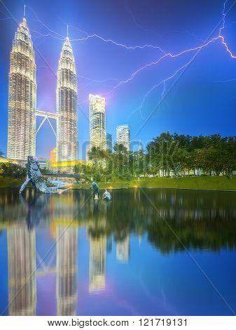 Kuala Lumpur night Scenery in the park, Malaysia