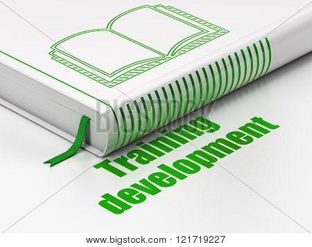 Education concept: book Book, Training Development on white background