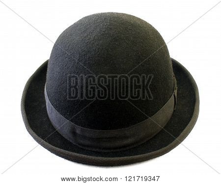 Black felt bowler isolated on white background.