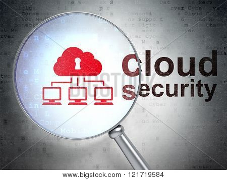 Cloud technology concept: Cloud Network and Cloud Security with optical glass
