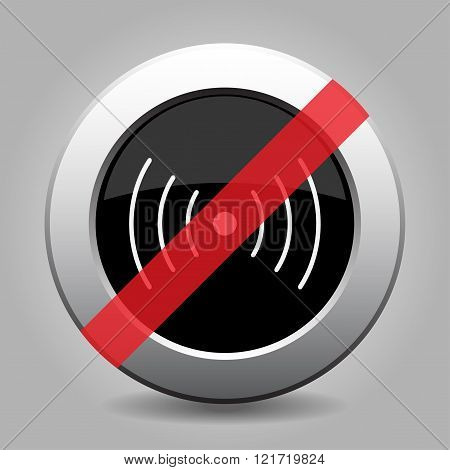 gray chrome button with no sound or vibration symbol - banned icon