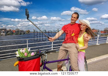 Selfie against canal in Zaanse Schans, Holland