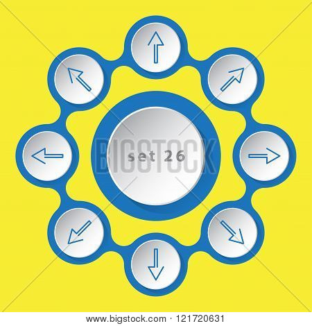 blue white icons - arrows in eight directions on a yellow background