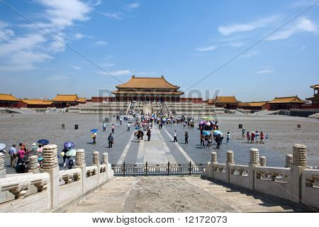 TIANJIN, CHINA - JUNE 4: Tourist fill the vast grounds of the Taihedian Square inside the Forbidden City  June 4, 2009 in Beijing, China.