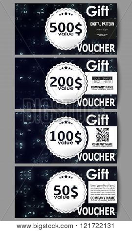 Set of modern gift voucher templates. Virtual reality, abstract technology background with blue symb