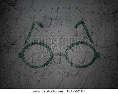 Science concept: Glasses on grunge wall background
