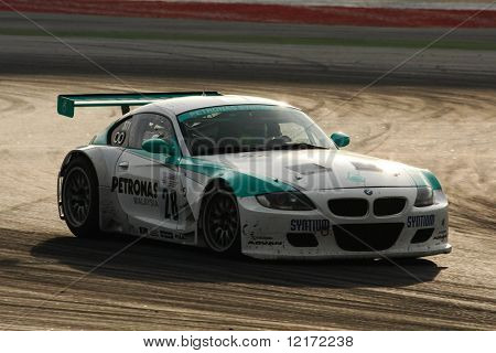 SEPANG, MALAYSIA - AUGUST 8: Petronas Team BMW car leads the 12 hour race of the 2009 Merdeka Millennium Endurance Race August 8, 2009 in Sepang, Malaysia.