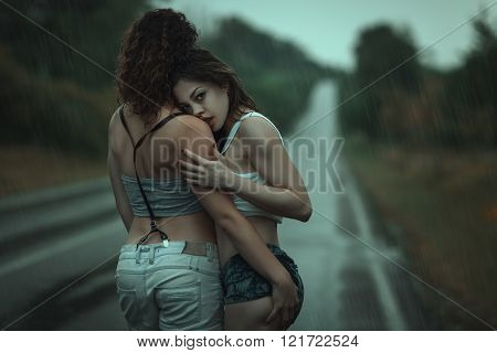 Two Women In A Passionate Embrace.