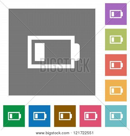 Low Battery Square Flat Icons
