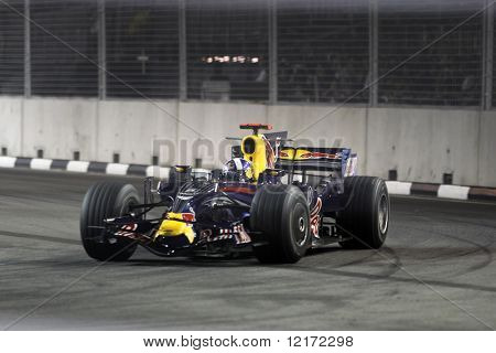 SINGAPORE - SEPTEMBER 26: Red Bull Racing's David Coulthard races at the 2008 Singtel Singapore F1 Grand Prix on September 26, 2008 in Marina Bay Circuit, Singapore.