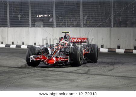 SINGAPORE - SEPTEMBER 26: McLaren Mercedes's Heikki Kovalainen races at the 2008 Singtel Singapore F1 Grand Prix on September 26, 2008 in Marina Bay Circuit, Singapore.