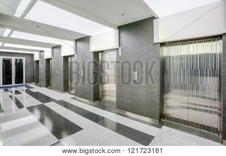 Hall with  elevators