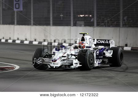 SINGAPORE - SEPTEMBER 26: Sauber BMW's Robert Kubica at the 2008 Singtel Singapore F1 Grand Prix on September 26, 2008 in Marina Bay Circuit, Singapore.