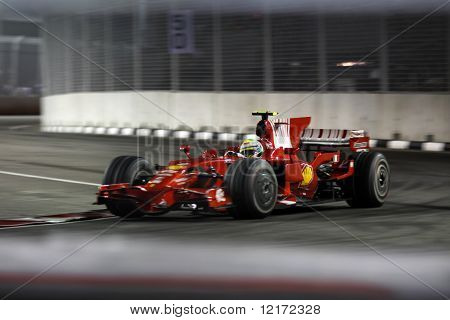 Singapur - SEPTEMBER 26: Ferrari Felipe Massa Rennen in o Singtel Singapore F1 Grand Prix 2008
