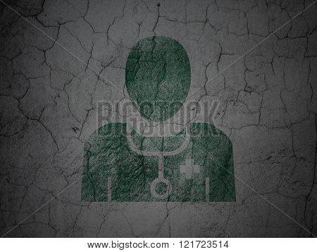 Health concept: Doctor on grunge wall background