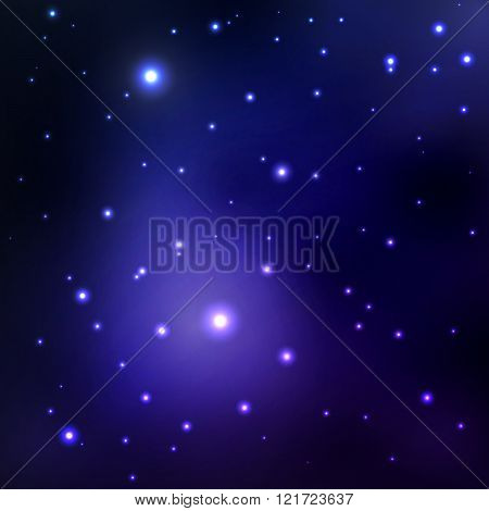 Vector abstract space background with stars. blue space nebula and black hole. image of distant gala