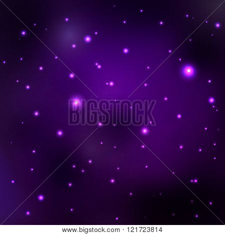 Purple space nebula. Vector abstract space background with stars, distant galaxies and planets.