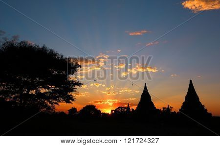 Silhouette of Temples and tree in Bagan at sunset, Myanmar (Burma)
