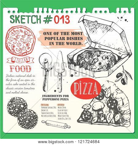 Food sketchbook with pizza menu illustration.  Italian food insketch style.