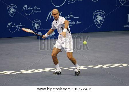 KUALA LUMPUR, MALAYSIA - OCTOBER 2: Russia's Nikolay Davydenko competing in the Malaysian Open Tennis ATP tour. October 2, 2009 in Kuala Lumpur Malaysia.