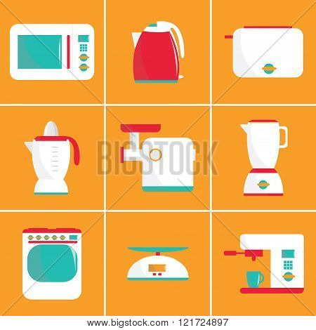 Set of flat vector kitchen appliances. Microwave, electric kettle, toaster, blender, meat grinder, j