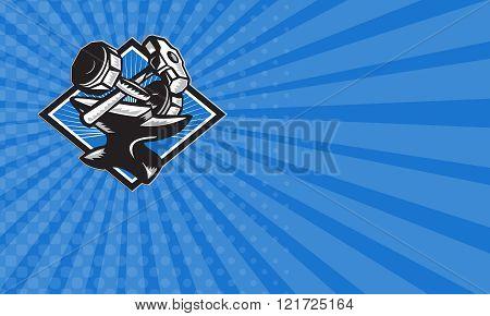 Business card Dumbbell Sledgehammer and Anvil Retro