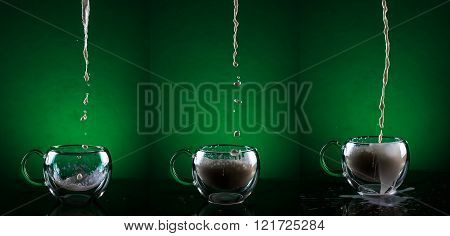 Set of three glass cups against green background. Filling glass cups with milk sequence.