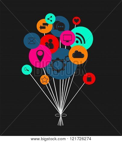 Flat social media icons in balloons vector eps 10 neon color