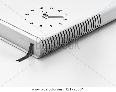 Time concept: closed book, Clock on white background