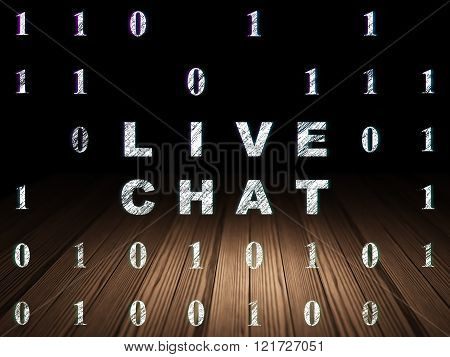 Web design concept: Live Chat in grunge dark room