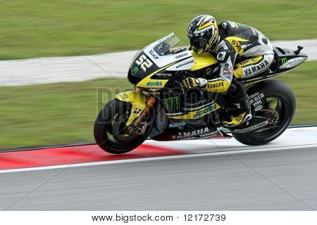SEPANG, MALAYSIA - OCTOBER 25: Team Monster Yamaha's James Toseland in  the 2009 Shell Advance Malaysian Motorcycle GP. October 25, 2009 in Malaysia.