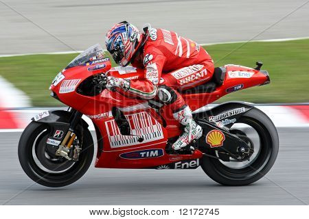 SEPANG, MALAYSIA - OCTOBER 25: Team Ducati Malboro's Nicky Hayden in  the 2009 Shell Advance Malaysian Motorcycle GP. October 25, 2009 in Malaysia.