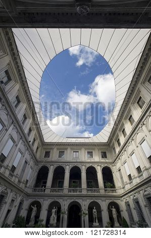 ROME ITALY - OCTOBER 4 2015: the Altemps palace courtyard , National Roman gallery, Museo Nazionale Romano