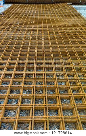 steel mesh at construction site