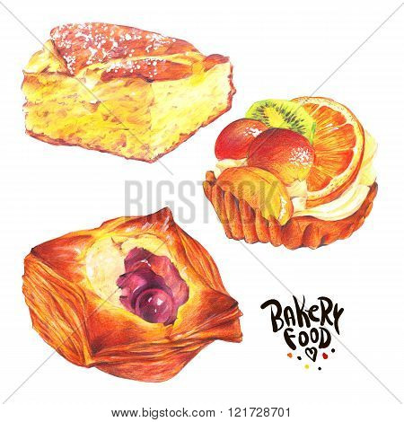 Hand drawn baking set isolated on a white background, biscuit, p