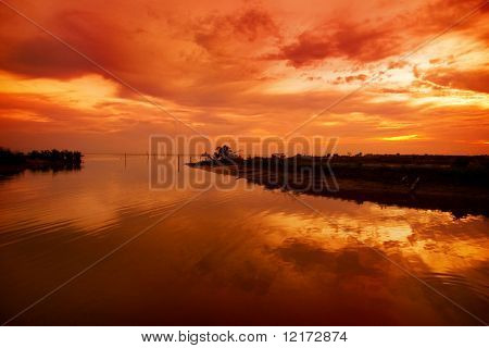 sunset at Duyung River, Malacca