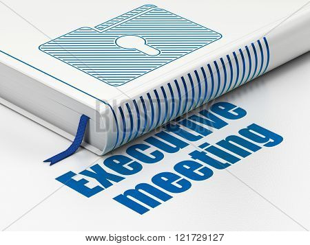 Finance concept: book Folder With Keyhole, Executive Meeting on white background
