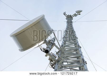 Mobile phone base station communications transmiting tower