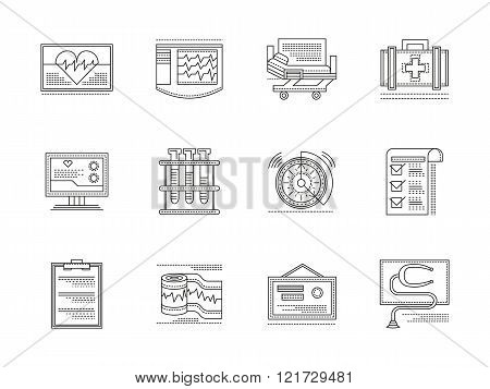 Cardiology elements linear vector icons set