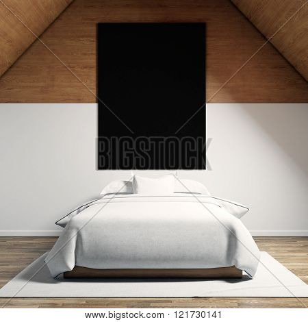 Photo of moder bedroom in chale house. Empty black canvas hanging on the wood wall and classic doubl