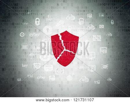 Safety concept: Broken Shield on Digital Paper background