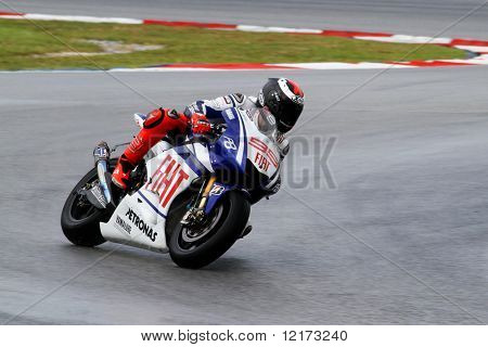 SEPANG - FEBRUARY 05: Jorge Lorenzo of the Fiat-Yamaha team practices in the pre-season testing in preparation for the MotoGP championship. February 05, 2010 in Sepang, Malaysia.